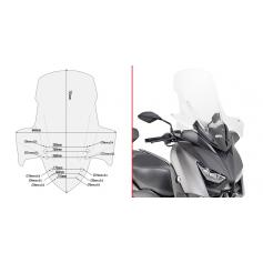 Parabrisas específico transparente con spoiler 73,5 x 64 cms (hxa) - Yamaha X-Max 300 / X-Max 400 / X-Max 125