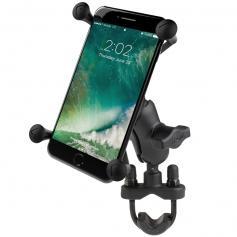 Soporte para teléfono RAM ® X-Grip ® grande con base de perno en U para manillar. Brazo corto