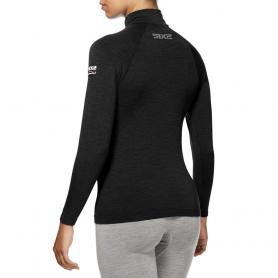 Camiseta de cuello alto y manga larga con cremallera Carbon Merinos Wool de SIXS
