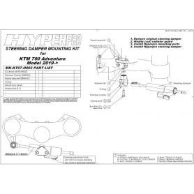 Amortiguador de Dirección CSC Touratech Suspensión para KTM 790 Adv / R con juego de montaje