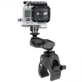 Base RAM pequeña Tough-Claw ™ con brazo de enchufe doble corto y adaptador de cámara de acción universal