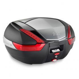 Baúl trasero MONOKEY® de 47L en negro con acabado en aluminio anodizado y catadriópticos en rojo de GIVI