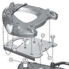 Adaptador posterior para maleta MONOKEY® para BMW F650GS (08-17)/ F700GS (13-17)/ F800GS (08-17)/ F800GS Adv. (13-17) de GIVI