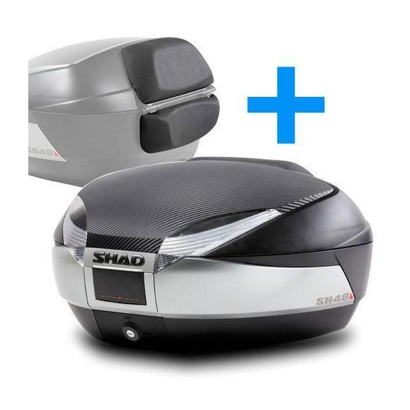 Baúl para motos pack SH48 en titanio + tapa carbono + respaldo de Shad