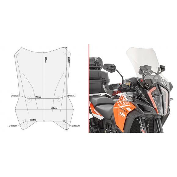 Cúpula específica transparente con spoiler 44 x 41 cms (hxa) para KTM 1290 SuperAdventure R de Givi