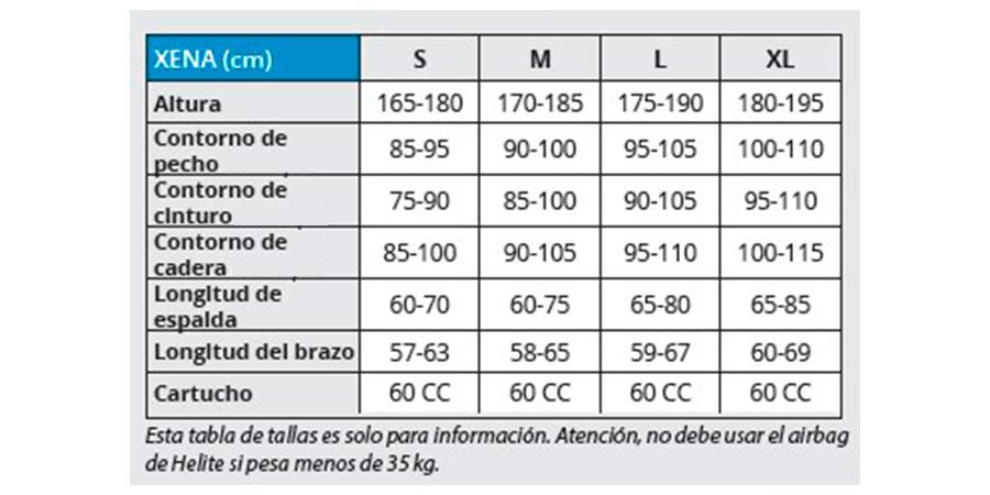 TABLA TALLAS CHAQUETA XENA